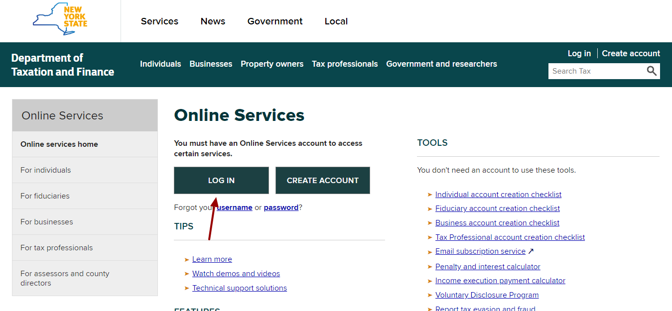 NY Department of Taxation and Finance login