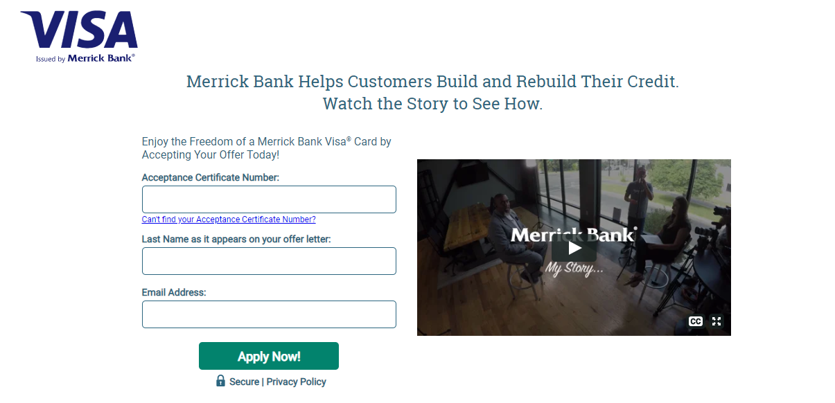 Merrick Bank Credit Card Apply