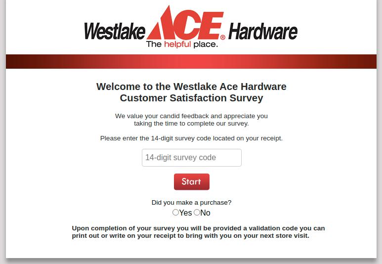 Westlake Ace Hardware Survey