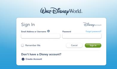 Walt Disney World Resort Login