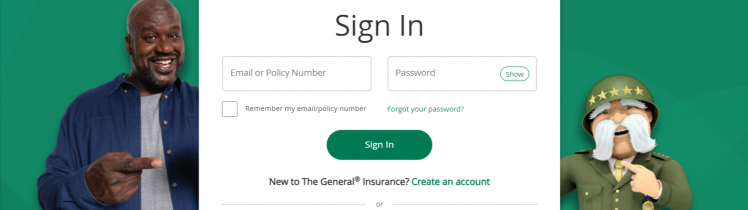 The general auto insurance Sign In