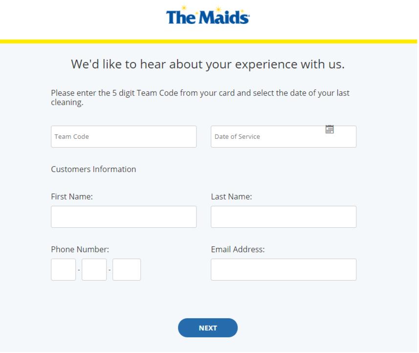The Maids International Customer Feedback Survey