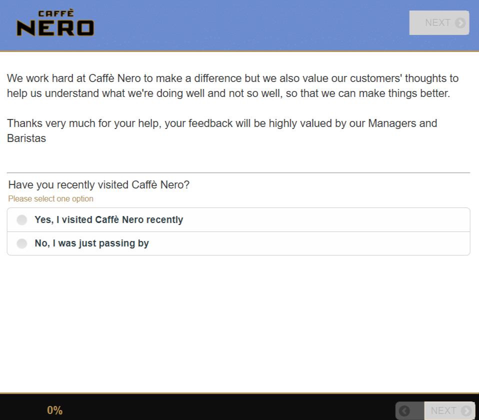 Caffe Nero guest feedback survey