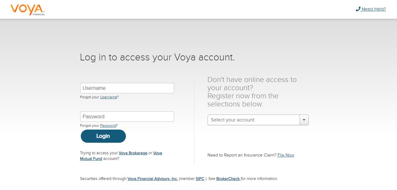 voya financial login